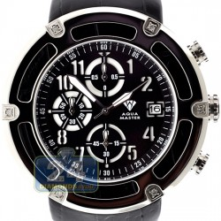 Aqua Master 0.24 ct Diamond Steel Leather Mens Watch
