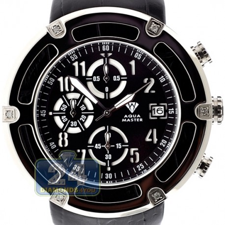 Aqua Master 0.24 ct Diamond Steel Leather Mens Watch