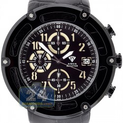 Aqua Master 0.24 ct Diamond Black PVD Steel Leather Mens Watch