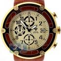 Aqua Master 0.24 ct Diamond Yellow PVD Steel Leather Mens Watch