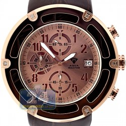 Aqua Master 0.24 ct Diamond Rose PVD Steel Leather Mens Watch
