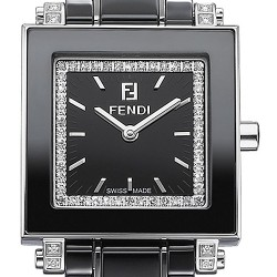 F621210DDC Fendi Black Ceramic Square Diamond Womens Watch 25mm