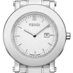 F642140D Fendi White Ceramic Round Womens Diamond Watch 38mm
