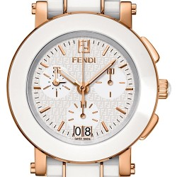 F672140 Fendi White Ceramic Round Rose Gold Chronograph Watch