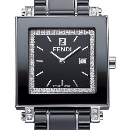 F621110DDC Fendi Black Ceramic Square Diamond Womens Watch 32mm