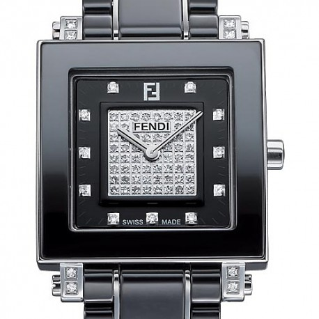 F625110DPDC Fendi Black Ceramic Square Diamond Womens Watch