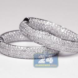 Womens Full Diamond Round Hoop Earrings 14K White Gold 2.04 ct