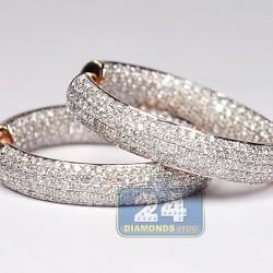 Womens Full Diamond Round Hoop Earrings 14K Rose Gold 2.03 ct