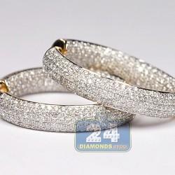 Womens Full Diamond Round Hoop Earrings 14K Yellow Gold 2.01 ct