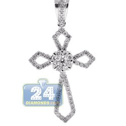 14K White Gold 0.40 ct Diamond Religious Cross Pendant