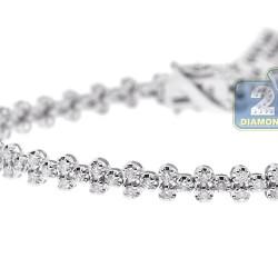 """Womens Diamond Cross Tennis Bracelet 18K White Gold 2.27 ct 7"""""""