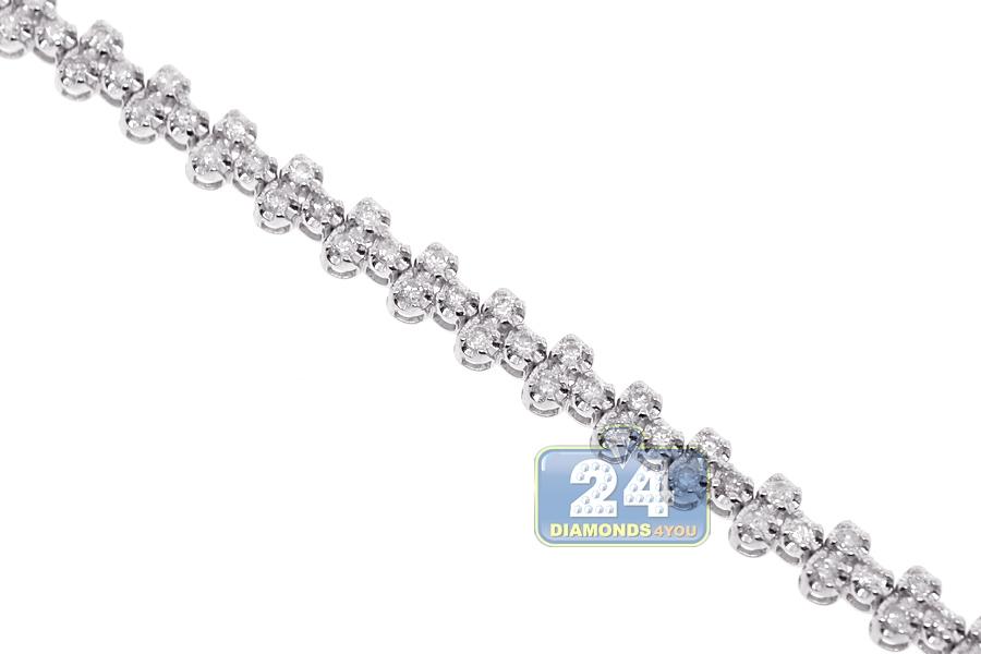 Womens Diamond Cross Tennis Bracelet 18k White Gold 2 27 Ct 7 Quot