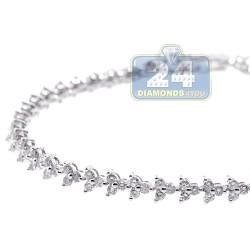 14K White Gold 3.20 ct Diamond Womens Flower Tennis Bracelet