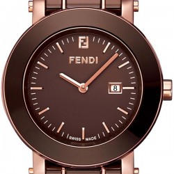 F684120 Fendi Brown Ceramic Round Rose Gold Case Watch 38mm