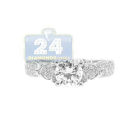14K White Gold 0.45 ct Diamond Engagement Ring Setting