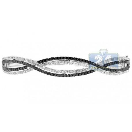 Womens Black Diamond Braided Bangle Bracelet 14K White Gold