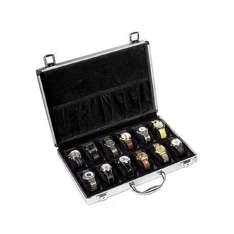 Twelve Watch Box Travel Case Orbita Lugano W81002 in Aluminum
