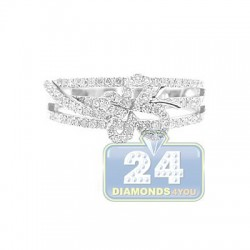14K White Gold 0.56 ct Diamond Womens Butterfly Band Ring