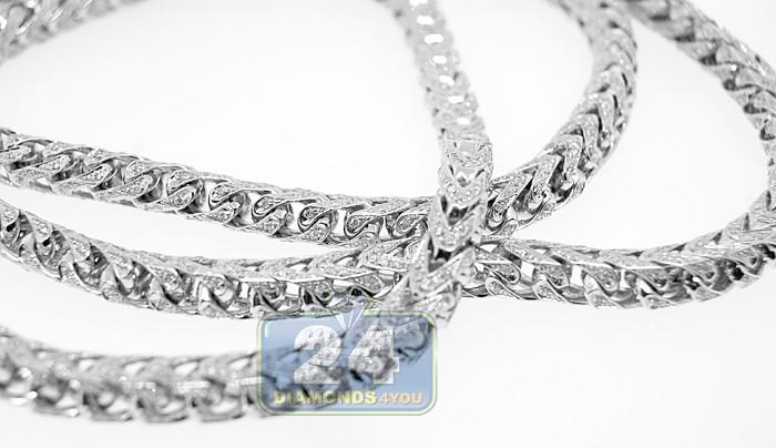 Mens Diamond Franco Chain Solid 14k White Gold 12 0ct 5mm 30 Quot