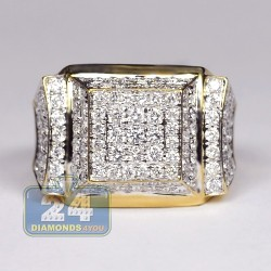 14K Yellow Gold 3.86 ct Diamond Multirow Mens High Set Ring