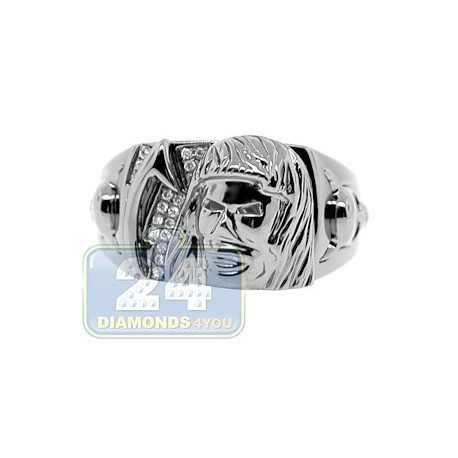Black PVD 14K Gold 0.06 ct Diamond Mens Skull Ring