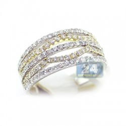 14K Two Tone Gold 1.05 ct Diamond Womens Band Ring