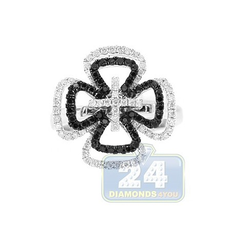 14K White Gold 0.77 ct Black Diamond Womens Cross Ring