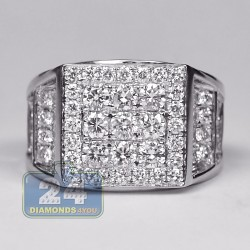 14K White Gold 3.74 ct Diamond Mens Step Design Ring