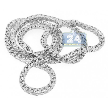 Mens Diamond Franco Chain Solid 14K White Gold 12.0ct 5mm 30""