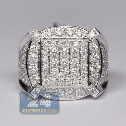 14K White Gold 2.85 ct Diamond Mens Multishaped Ring