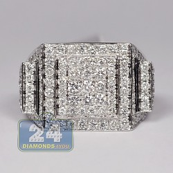 14K White Gold 3.56 ct Diamond Multi Edge Design Mens Ring