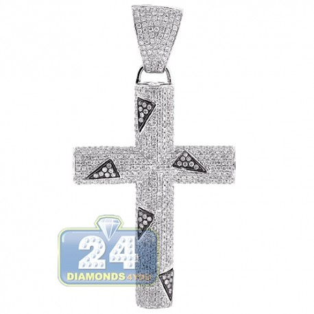 Mens Diamond Pave Cross Pendant 14K White Gold 4.55ct 2.5""