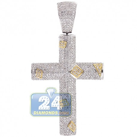 Mens Diamond Pave Religious Cross Pendant 14K White Gold 4.53ct