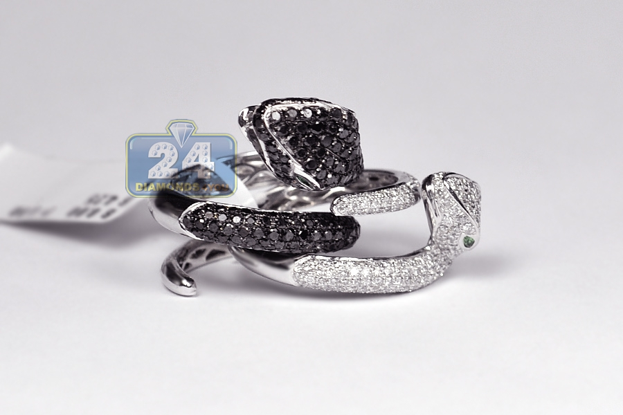Womens Black White Diamond Double Snake Ring 14k Gold 4 25 Ct