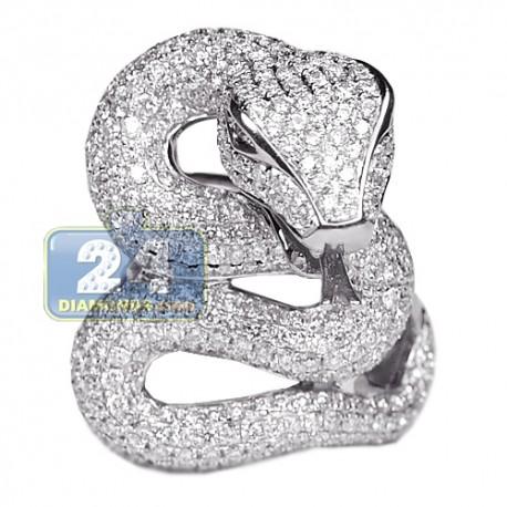 Womens Diamond Peridot Snake Ring 18K White Gold 4.49ct