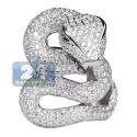 18K White Gold 4.49 ct Diamond Peridot Womens Snake Ring