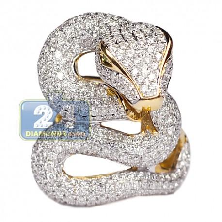 Womens Diamond Gemstone Snake Ring 18K Yellow Gold 4.40ct
