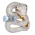 18K Yellow Gold 4.40 ct Diamond Gemstone Snake Ring