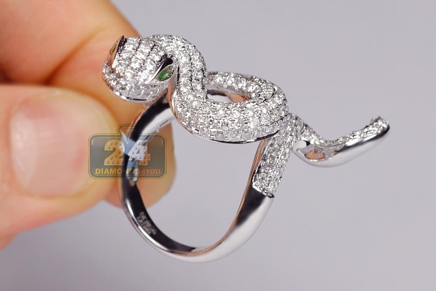 Womens Diamond Long Snake Ring 14k White Gold 3 68 Ct