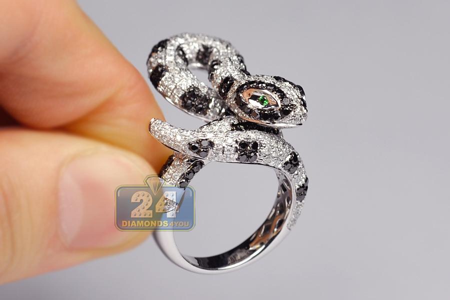 14k White Gold 5 12 Ct Black Diamond Womens Snake Ring