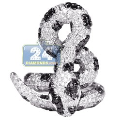 Womens Black Diamond Coil Snake Ring 14K White Gold 5.12 ct