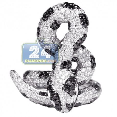 Womens Black Diamond Coil Snake Ring 14K White Gold 5.12 ct