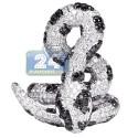 14K White Gold 5.12 ct Black Diamond Womens Coil Snake Ring
