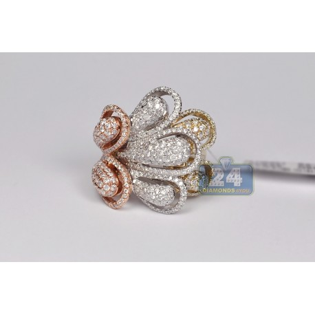 14K Three Tone Gold 3.10 ct Diamond Abstract Flower Cocktail Ring