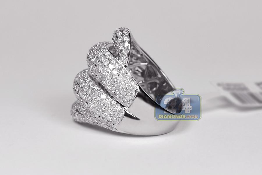 Womens Diamond Wave Shape Large Ring 14k White Gold 3 50 Ct