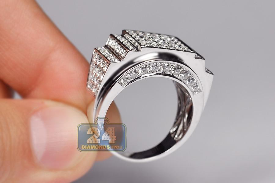 3 23 Ct Diamond Mens Step Cut Design Ring 14k White Gold