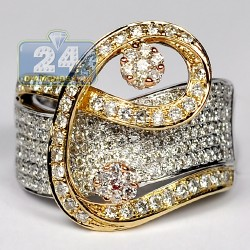 14K Three Tone Gold 1.53 ct Diamond Womens Swirl Cocktail Ring