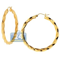 10K Yellow Gold Round Swirl Hoop Earrings 4 mm 1 3/4 Inch
