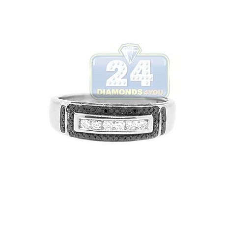 14K White Gold 0.42 ct Black Diamond Mens Band Ring