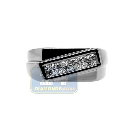 Black PVD 14K Gold 0.32 ct Princess Cut Diamond Mens Ring